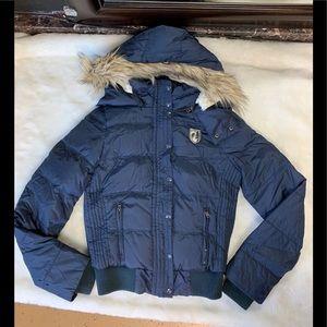 American Eagle Puffer Down Jacket Fur Lined Hoodie